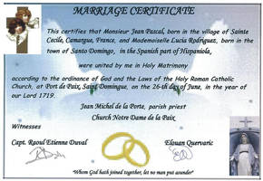 Marriage Certificate Lucia and Jean by SolPicador
