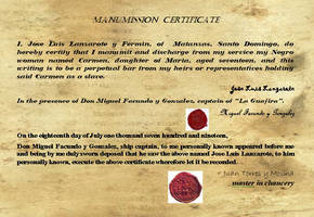 Manumission Certificate Carmen by SolPicador