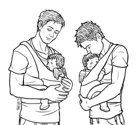 Fledgling Angel Twins and Their Dads