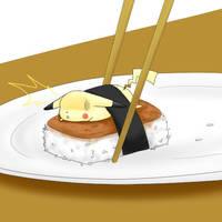 Pikachu Got Musubi by MokonaTenshi