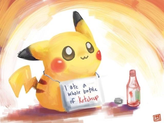 Pikachu Ate My Ketchup by MokonaTenshi on DeviantArt