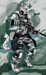 Military snow leopard by riard