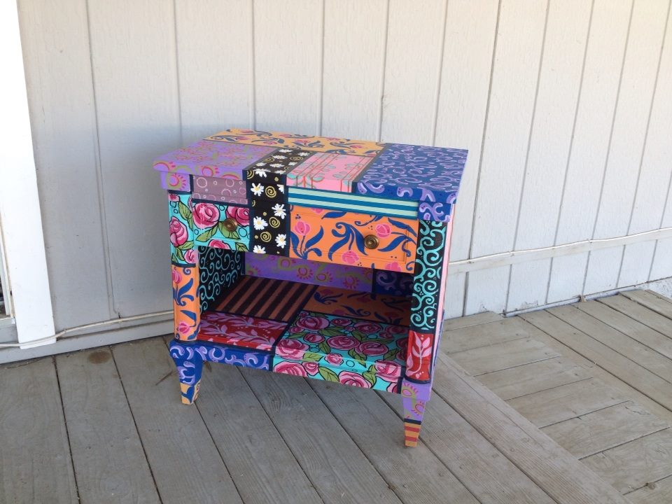 Boho Patchwork Nightstand. Hand Painted! By Moonlight Arts ...