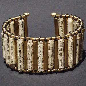 Brass Tube and Paper Bead Cuff
