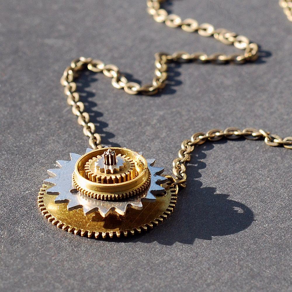 gear necklace choker chain machinery pendant jewelry steampunk vintage itm hot