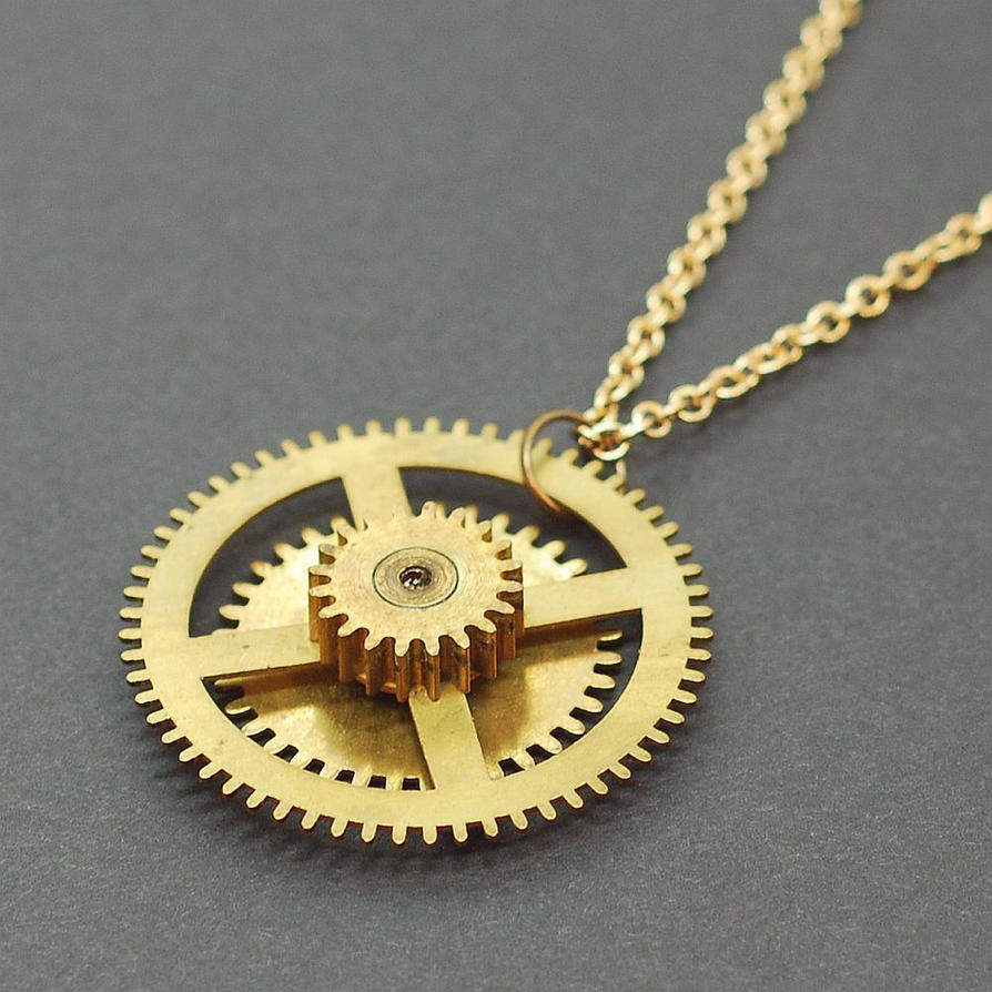 deviantart on steampunk pendant necklace art jewelry brass rohe gear by tanith