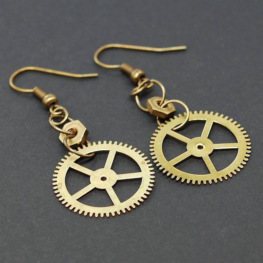 Is Steampunk Jewelry A Craft Or An Art: Steampunk Jewelry Brass Gear Earrings By Tanith-Rohe On