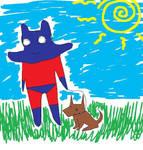 The EVIL Man Ray walks his dog