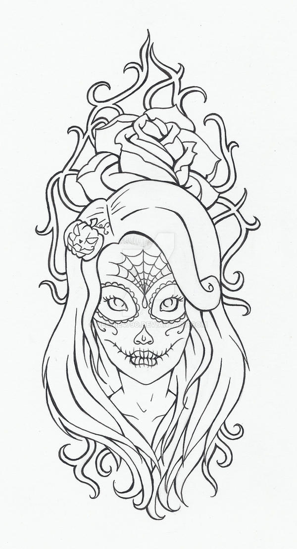 Black Line Drawing Tattoos : Deadly look tattoo lineart by reenie on deviantart