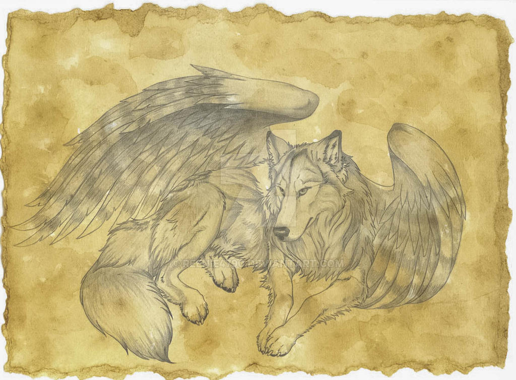 Tea stained winged wolf 2 by reenie4790