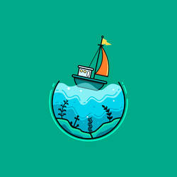 Simple Underwater Landscape Illustration by drawsimplethings