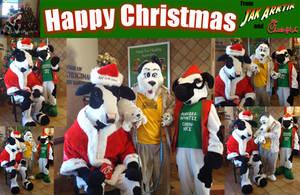 Christmas with Santa Cow, Jak Arktik, Erik and Elf by Stitchfan