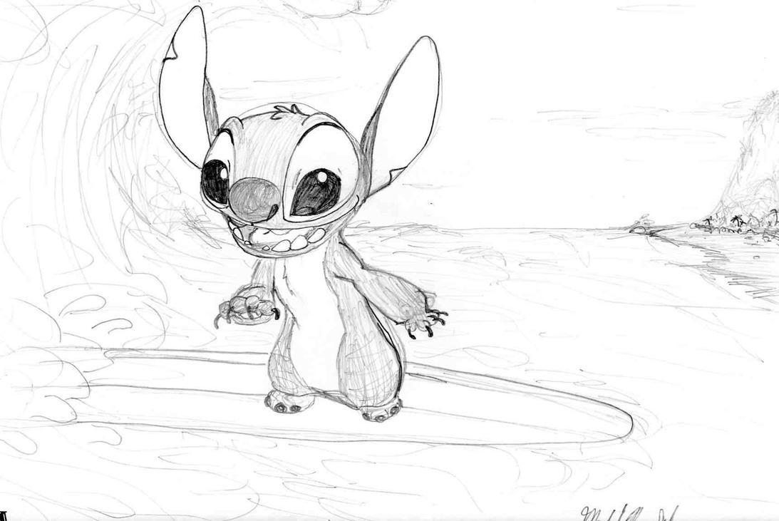 Line Drawing Of Desert Animals : Stitch surfboard sketch by stitchfan on deviantart