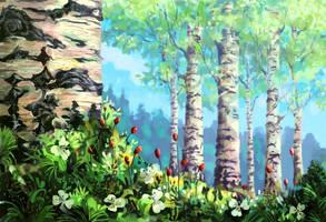 Summer birch by Helvende
