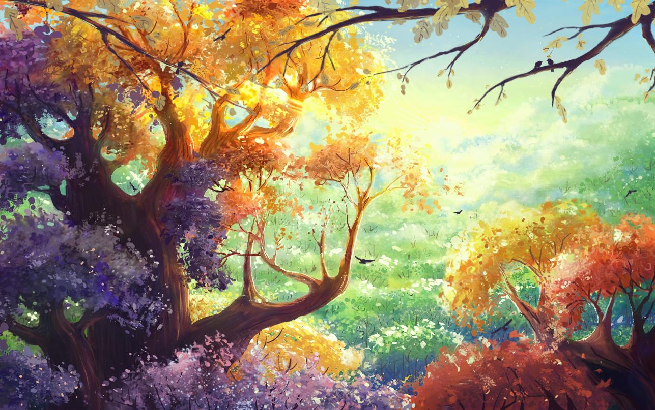 Dawn in Wonderful forest