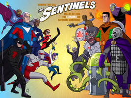 COMMISSION - The Sentinels Cartoon Ad - Complete by DBed