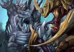 Starcraft 2 Tyrannozor vs Brutalisk by Shocktowerarts