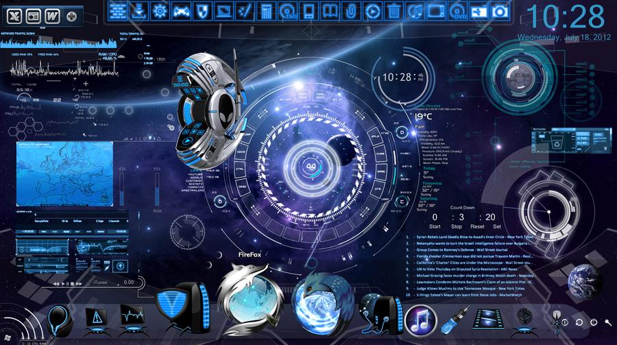 Space Blue Desktop by PhysicsAndMore