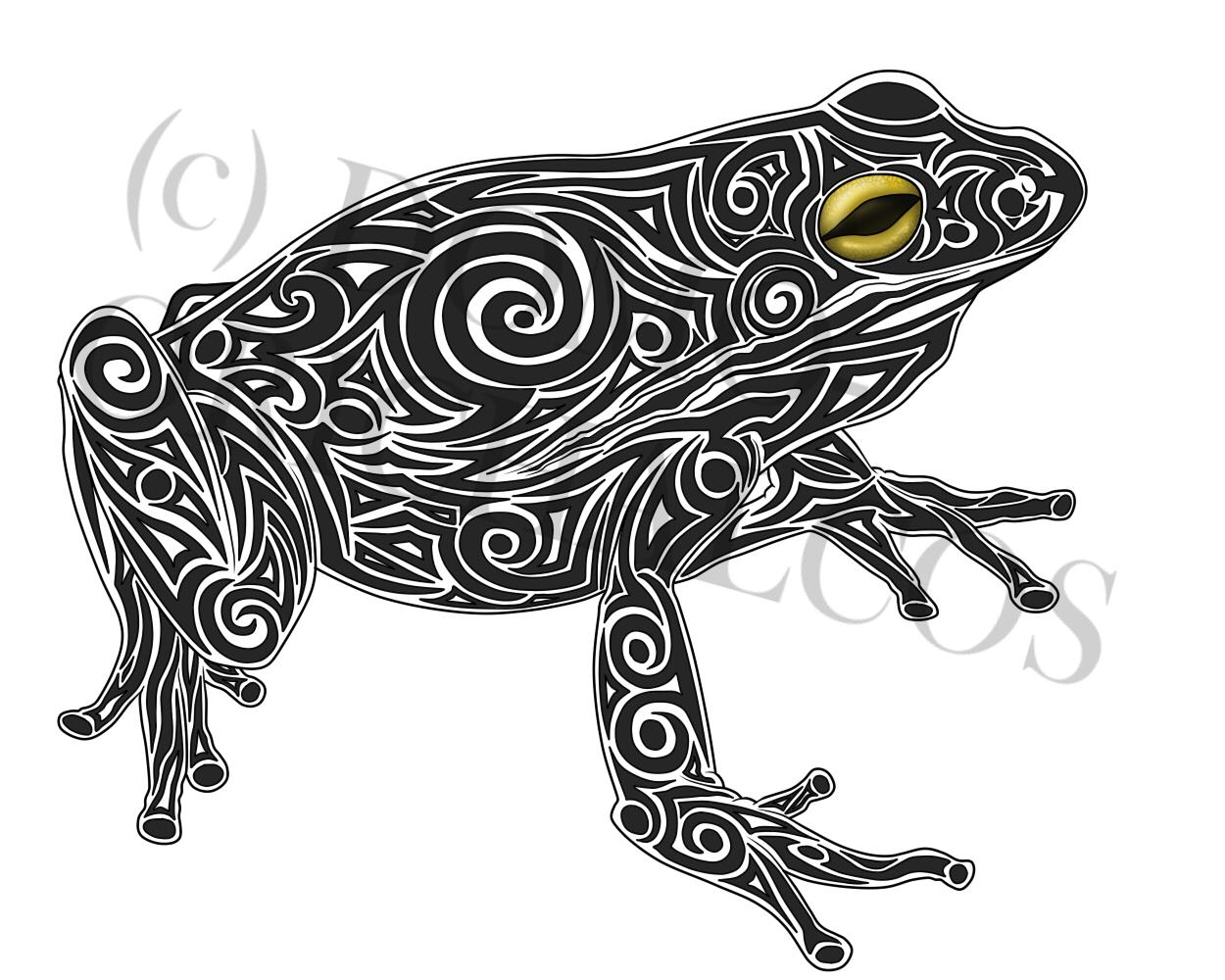 D Frog Tattoo Design