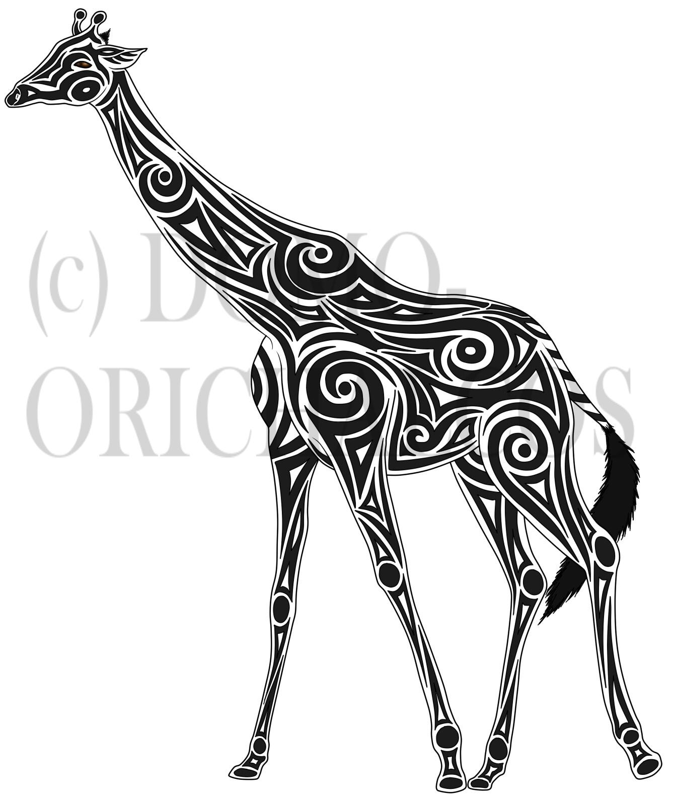 Tribal giraffe tattoo - photo#10