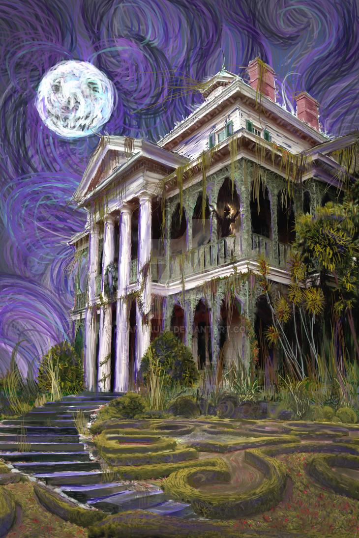 The Haunted Mansion Night by adamtaula