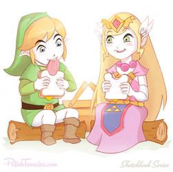 Gaming   Link and Zelda Picnic by PolishTamales