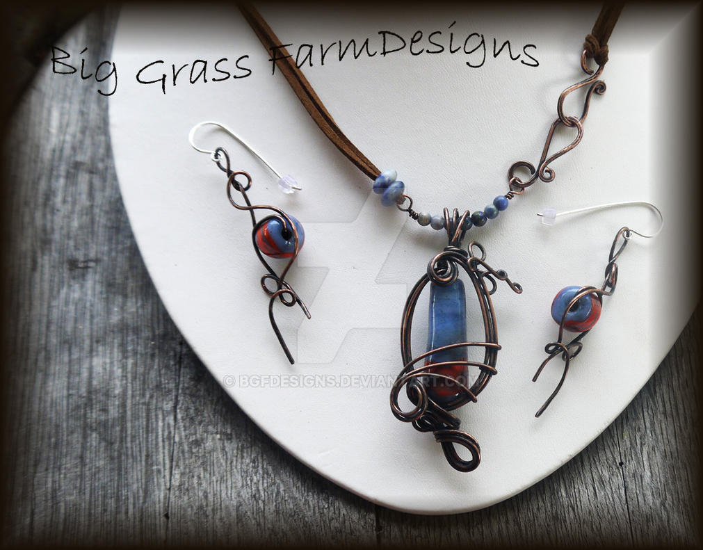 Lampwork Beads and Copper Necklace and Earring Set by bgfdesigns