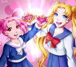 Chibiusa and Usagi by varaa
