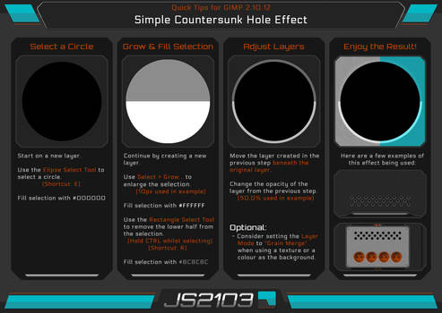 Guide: Countersunk Hole Effect in GIMP 2.10.12