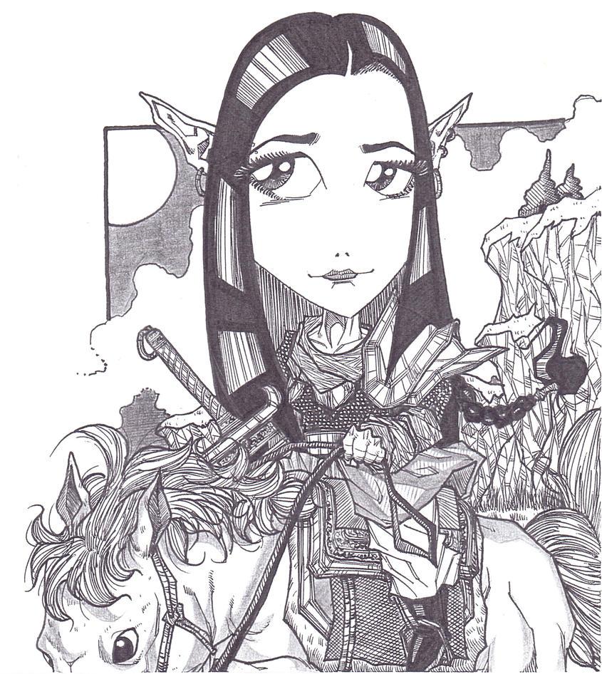 dessins de Guildeux  ^^ - Page 5 Female_elves_warrior_by_moshyhitsu-daonw1y