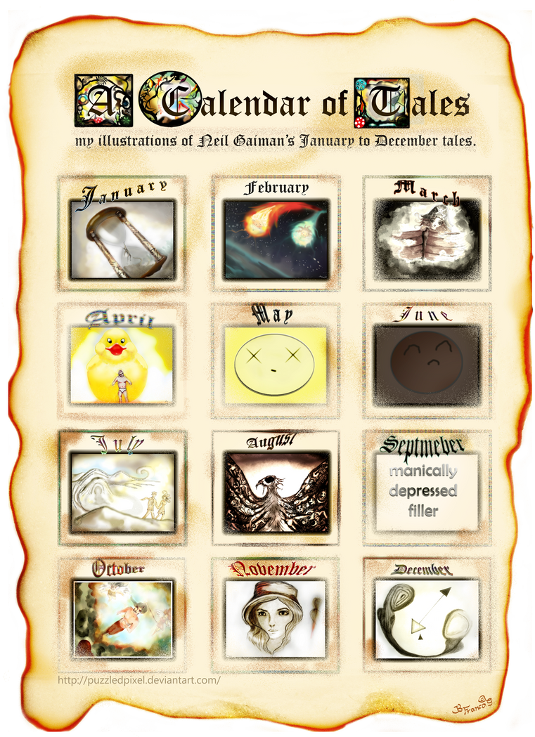 my calendar of tales by puzzledpixel