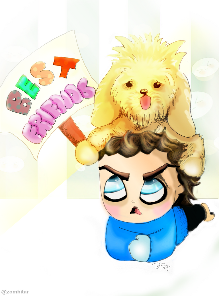 Gustl and his pet Kopi (colored version) by puzzledpixel