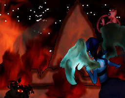 Lapis and Mew vs Black Hand by halo20601