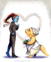 Undyne x Alphys get marry by DeluCat