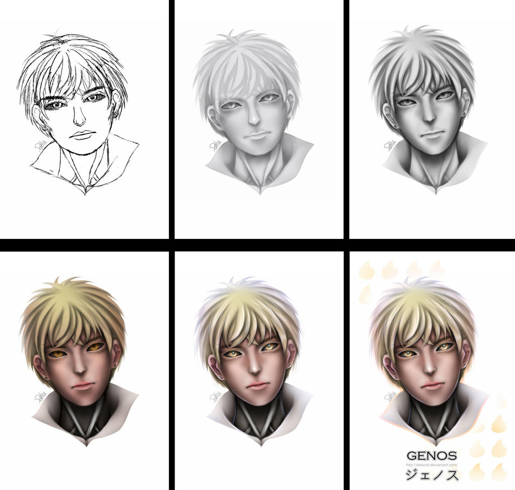 Grayscale Coloring Wip One Punch Man Genos By Delucat