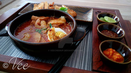 Laksa Udang Komplit (with Chicken Cutlet)