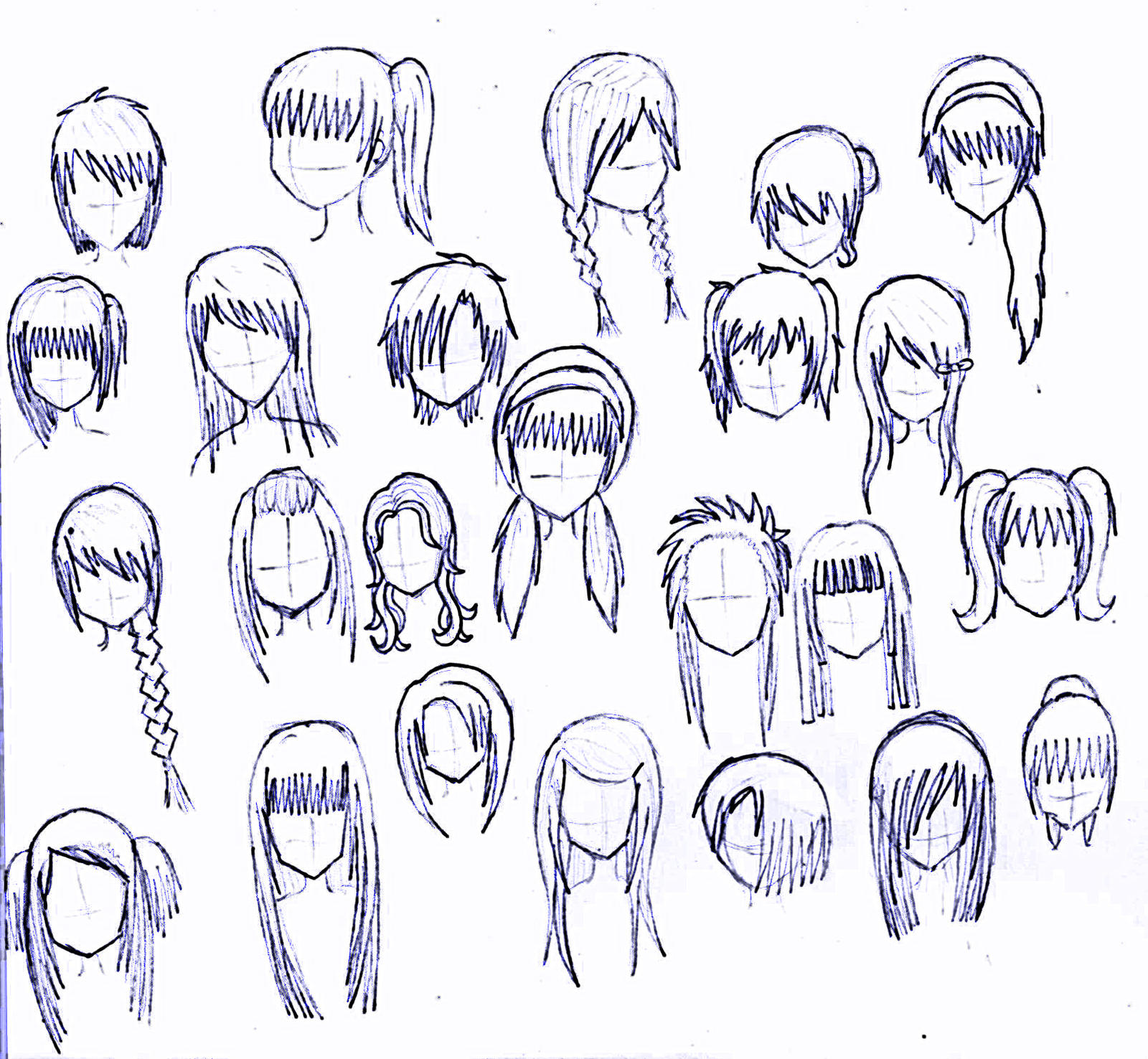 24 girls hairstyles by matsudakeiko manga anime digital media drawings ...