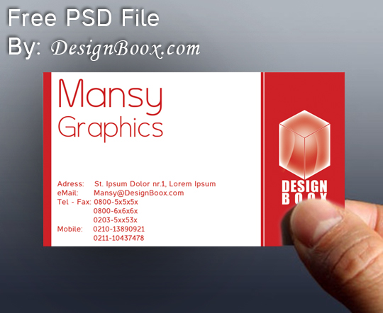 Red business card psd template by designboox on deviantart for Red business card template