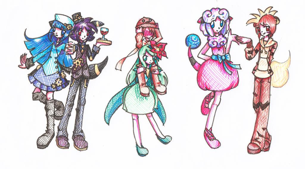 Commission: Gijinka Nuzlocke Team by kittystar123