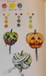 Halloween Watercolor sketchbook page by Loun13