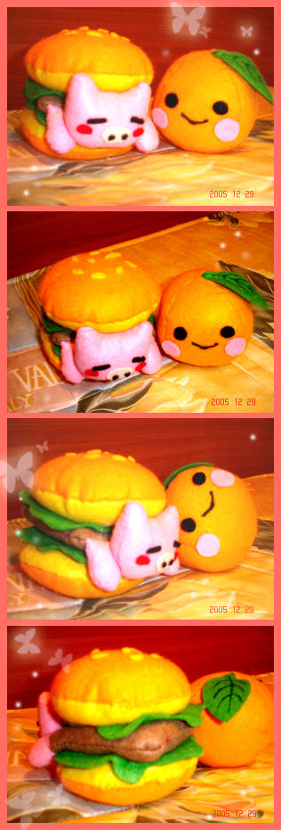 Mr. Pigburger  + Orange-san by jujubes