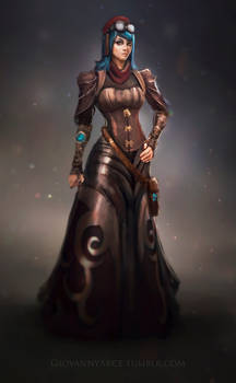 Character concept art, steampunk theme.