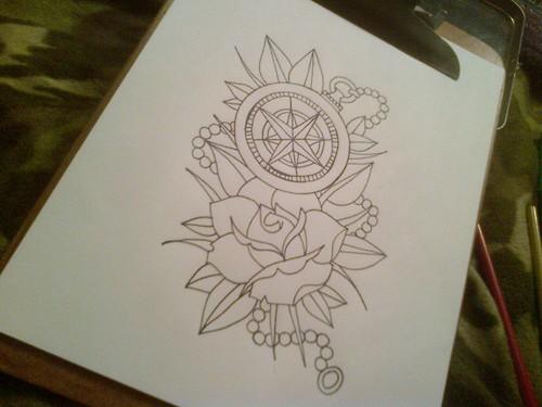 Compass Tattoo Line Drawing : Tattoo design outline by aubreyroseelliott on deviantart