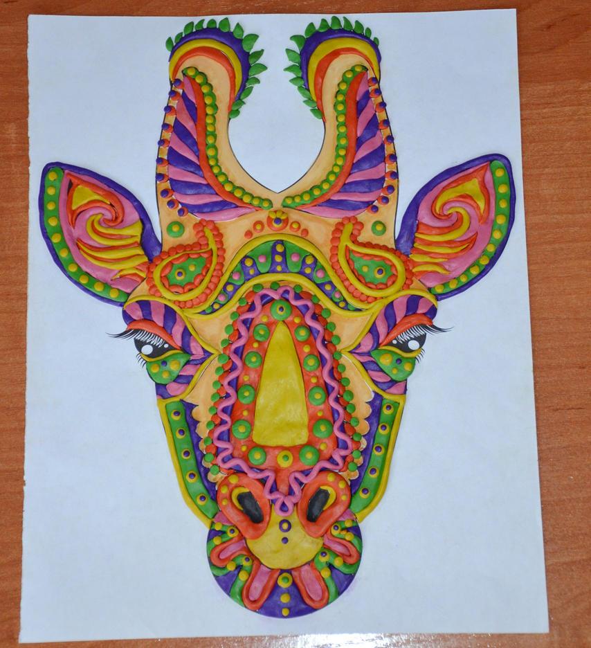 Clay mosaic Giraffe) by Anastasia1995art