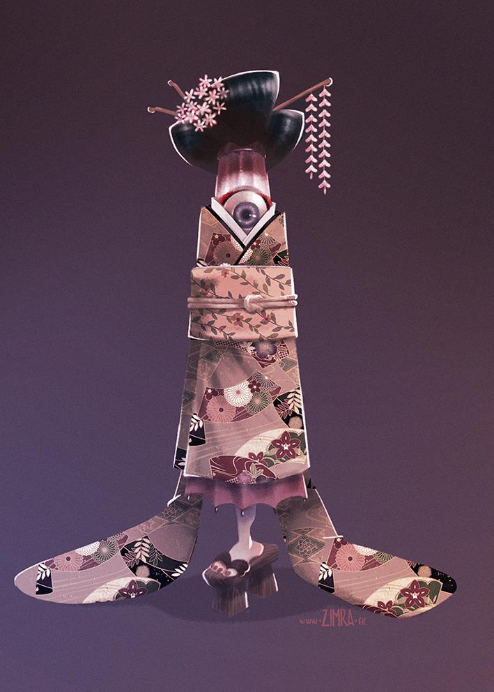 Yokai geisha by zimra-art