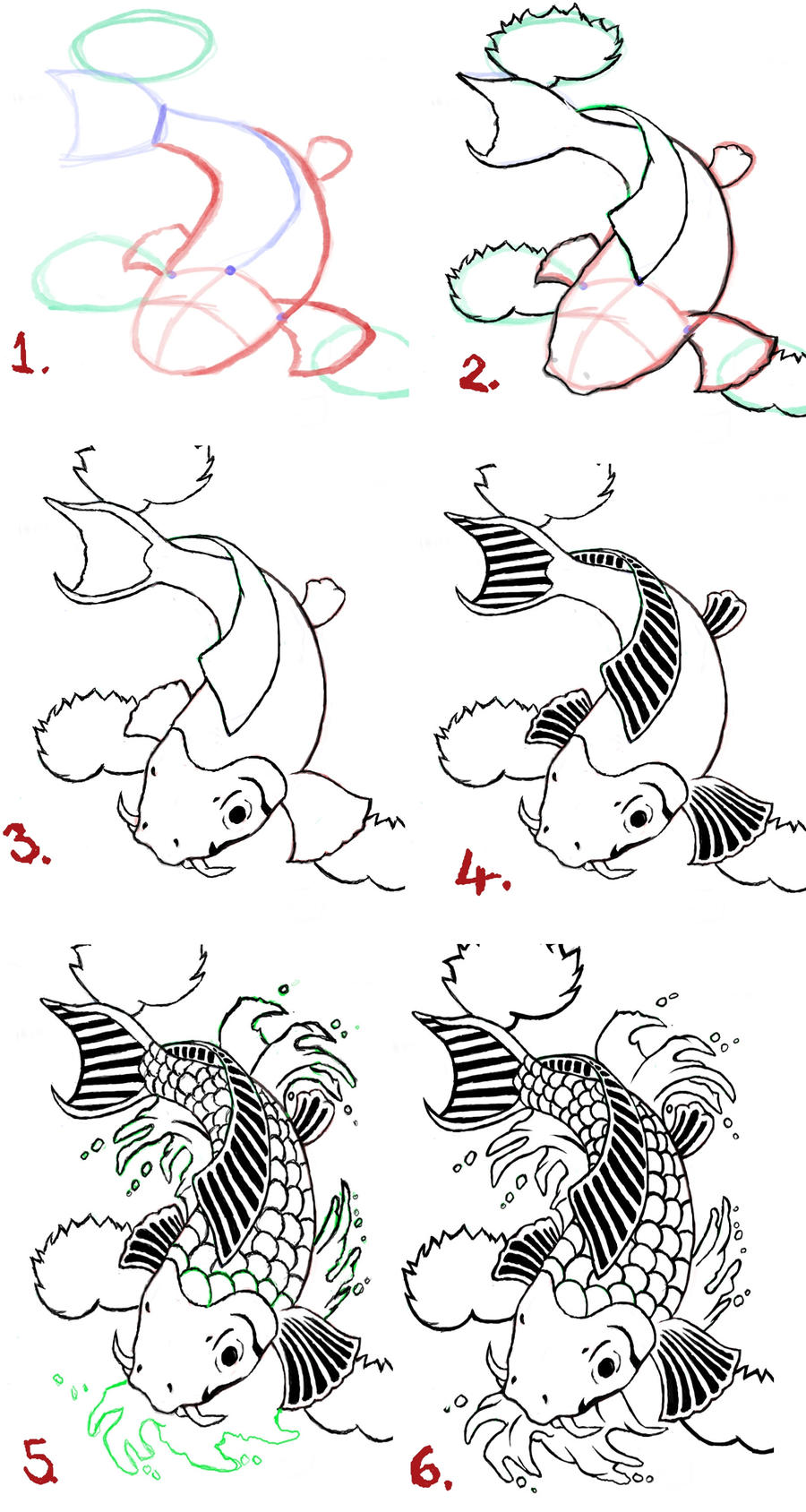Koi fish drawing steps by wenwecollide on deviantart for Tiny koi fish