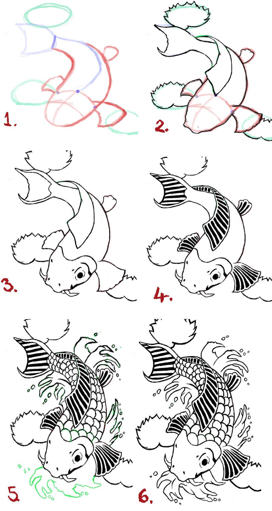 pin koi fish drawing on pinterest
