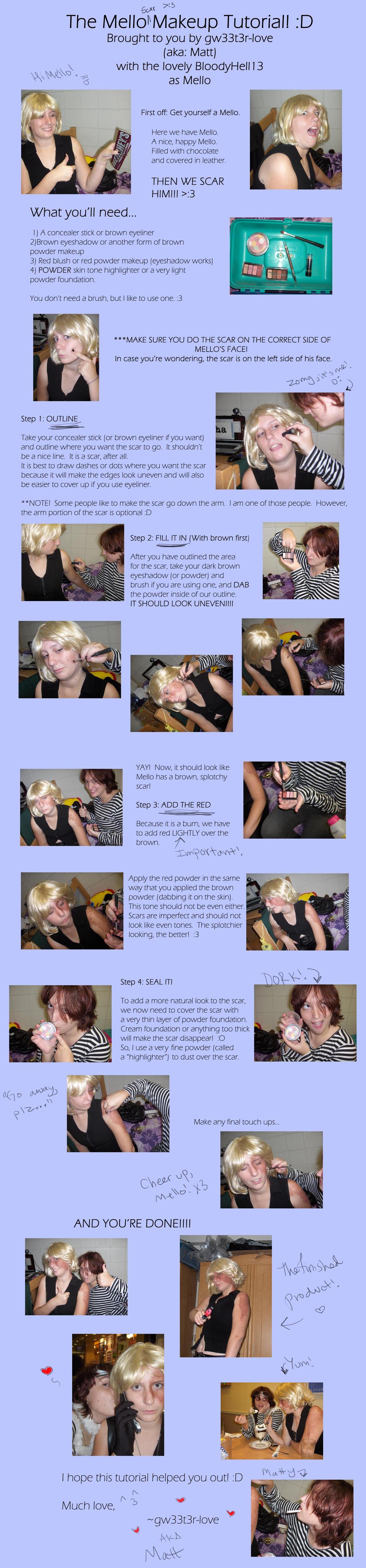 Mello Scar Makeup Tutorial by gw33t3r-love