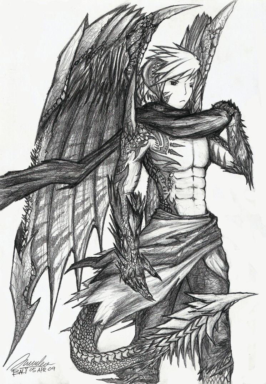 Human Dragon Hybrid Drawing Anime Dragon Human Hybrid