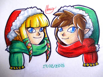 SS Link and Zelda christmas doodle by NeonSoul-Art